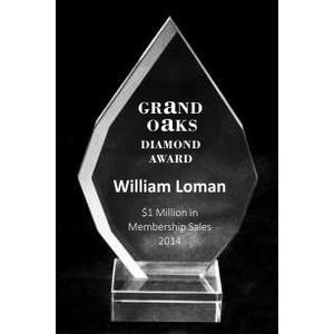 "EXCLUSIVE! Acrylic and Crystal Engraved Award - 6"" Tall Square Drop"