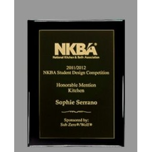 "Ebony finish Plaque with Full Metal Panel - 9"" x 12"""