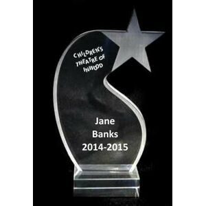 "EXCLUSIVE! Acrylic and Crystal Engraved Award - 7"" Tall Shooting Star"