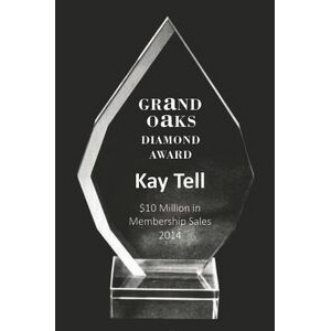 "EXCLUSIVE! Acrylic and Crystal Engraved Award - 8"" Tall Square Drop"