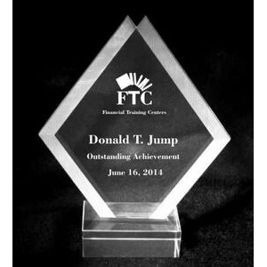 "EXCLUSIVE! Acrylic and Crystal Engraved Award - 8"" Tall Double Diamond"
