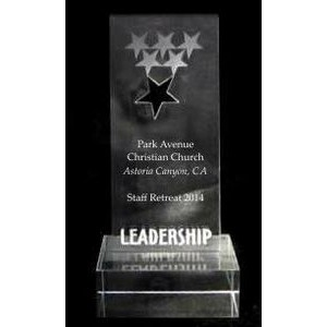 "EXCLUSIVE! Acrylic and Crystal Engraved Award - 6"" Tall Leadership Star"