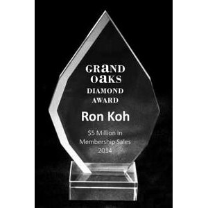 "EXCLUSIVE! Acrylic and Crystal Engraved Award - 7"" Tall Square Drop"
