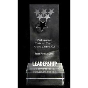 "EXCLUSIVE! Acrylic and Crystal Engraved Award - 7"" Tall Leadership Star"