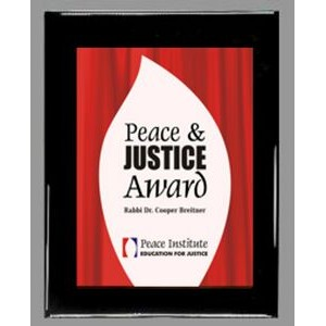 "Ebony finish Plaque with Full-Color Acrylic Graphic Panel - 9"" x 12"""