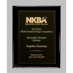 "Ebony finish Plaque with Full Metal Panel - 7"" x 9"""