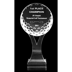 "Acrylic and Crystal Engraved Award - ""Y"" Golf Ball - 10-1/2"""