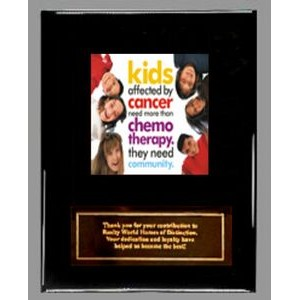 "Ebony finish Plaque with Full-Color Panel and Metal Plate - 8"" x 10"""